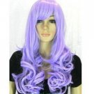 New fashion women's long wavy hair purple wig