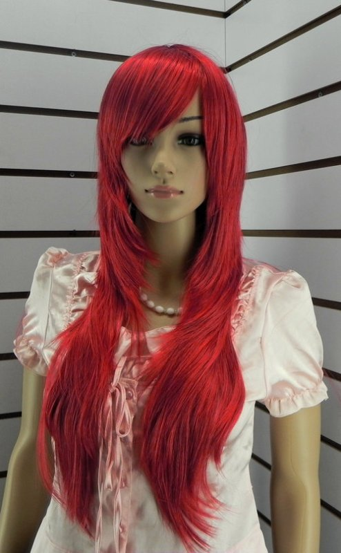 Super beautiful red wig with long straight healthy role-playing (W217)