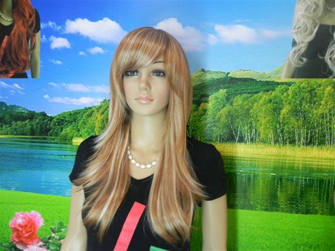 new brown & blonde mixed long full wig