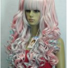 The new mix of blue and pink long hair wig split the whole