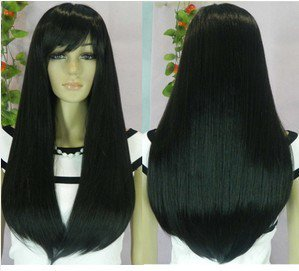 Fashion long black straight hair wig