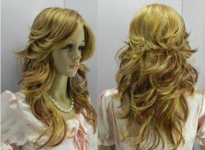 COSPLAY long blonde hair wig mixed