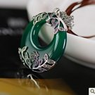 "Mark ""national wind restoring ancient ways is green jade pendant silver XiangLia"