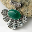 "925 and Ma Sake ""national style retro green jade pendant"