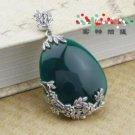 "Manual sculpture 925 Thai silver mark ""green jade stone Jing"