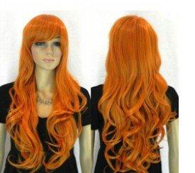 Fashion beautiful new long-wave women's orange wig / wigs
