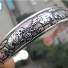 Tibetan Tibet Silver Totem Cuff Bracelet(k1)
