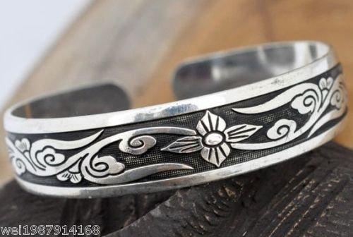 Cute Carved Tibet Silver Bangle Bracelet Charms(k4)