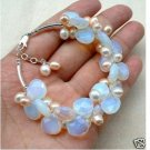 Beautiful Blue Fire Opal and Fresh Water Pearl Bracelet