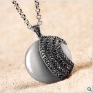 Sterling Silver Cat's eye stone, Round Pendant Necklace Retro