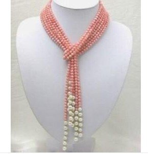 Charming 50 inch 5mm Pink Coral Freshwater Pearl Necklace
