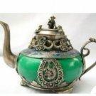 old tibet silver jade teapot incense burner