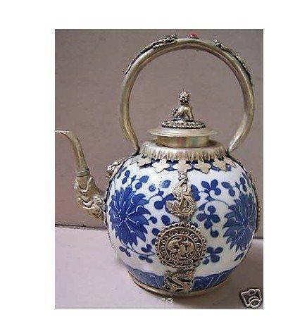 Rare Tibet Silver dragon Blue White Porcelain teapot