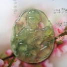 Charming jade carving of ice talisman necklace pendant lotus Guanyin bodhisattva (A1)