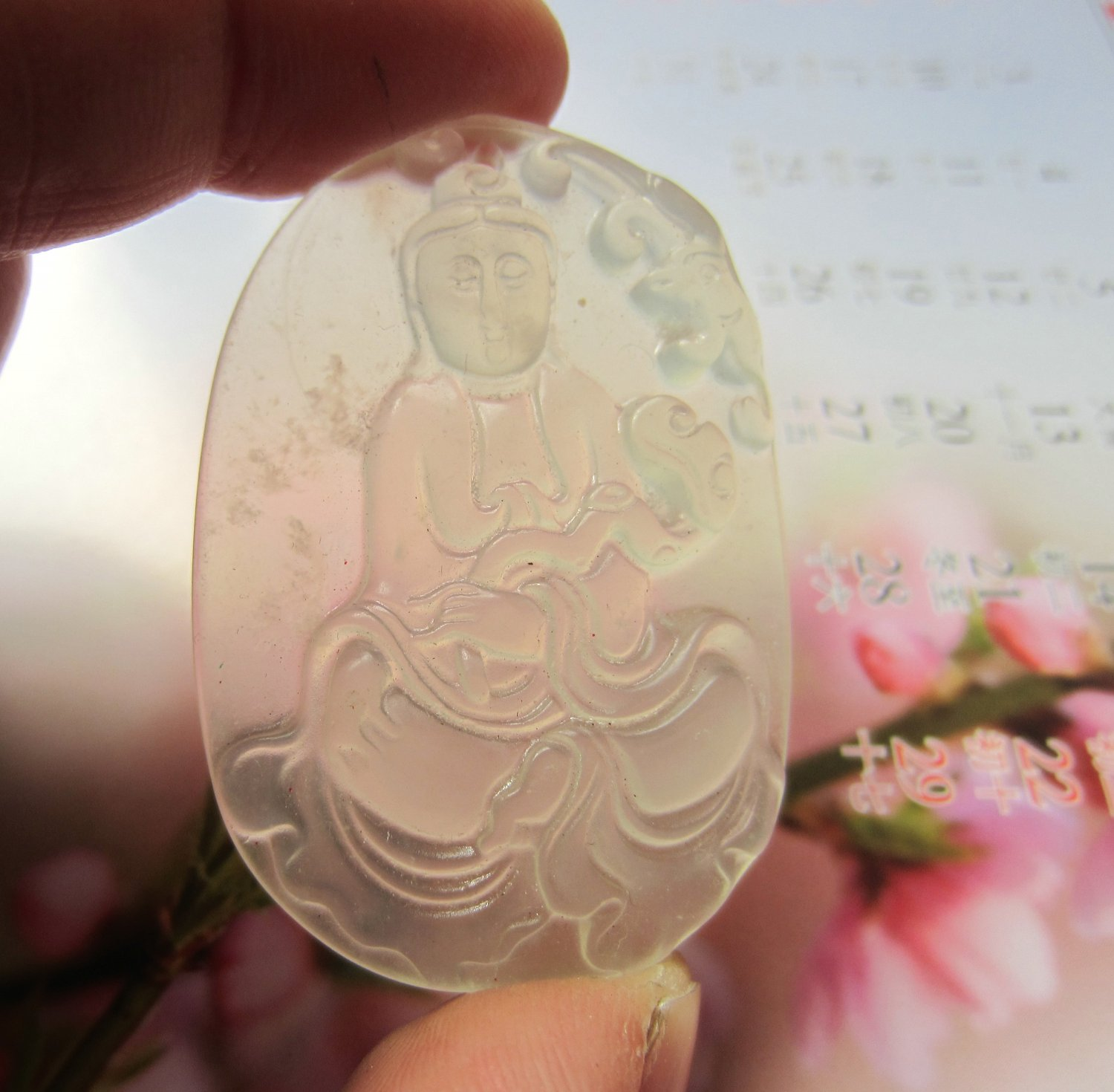 Charming jade carving amulet ice flowing necklace cost guanyin bodhisattva (A2)