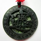 Manual sculpture green ink jade pendant necklaces amulet (a thriving business)