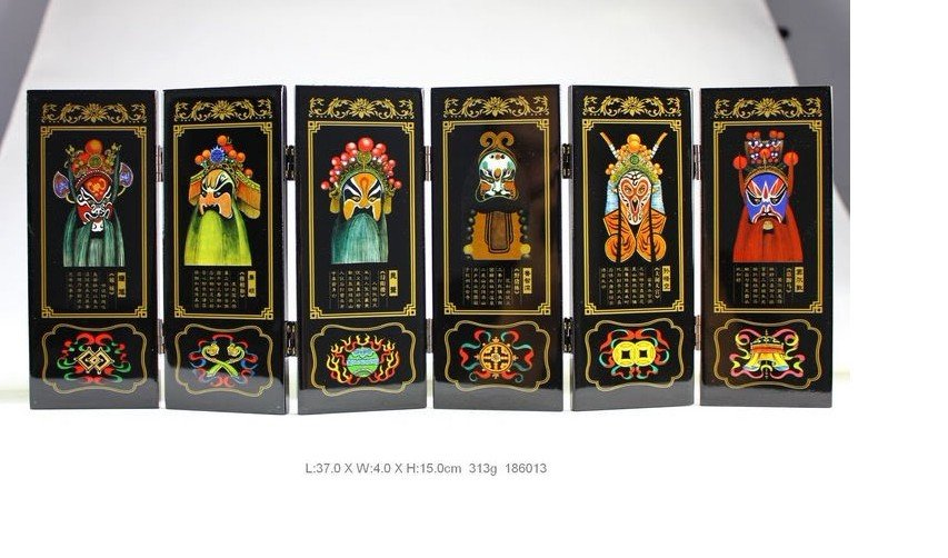 Chinese Lacquer Painted Beijing Opera Folding Screen 186013