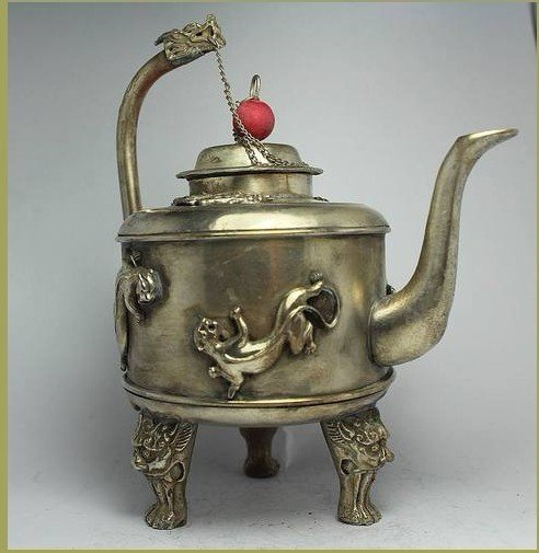 CHINESE HANDWORK DRAGON OLD TIBET-SILVER TEA POT