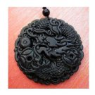 Black Green Jade Fortune Dragon Coins Amulet Pendant