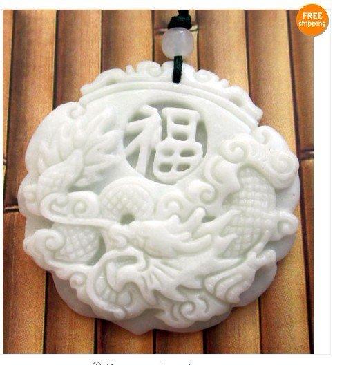 White Green Jade Dragon Fu Good Fortune Pendant
