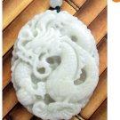 White Green Jade Prosperous Dragon Amulet Pendant