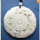 White Green Jade Dragon Phoenix Yin-Yang 8-Diagram Pend