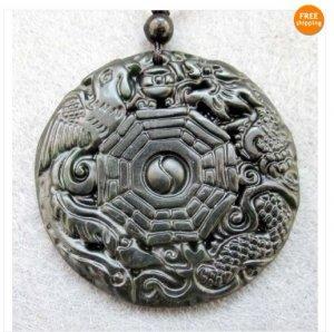 Black Green Jade Dragon Phoenix Yin-Yang 8-Diagram Pend