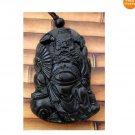 Black Green Jade Ghost Catcher Zhong Kui Amulet Pendant