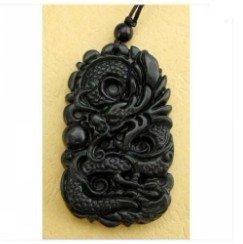 Black Green Jade Fortune Dragon Pearl Amulet Pendant