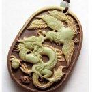 Zipao Jasper Carved Dragon Phoenix Love Amulet Pendant