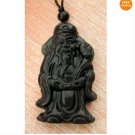 Black Green Jade Wealth God Amulet Pendant