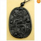 Black Green Jade Celestial Dragon Amulet Pendant