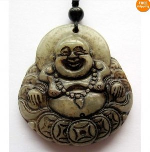 Old Jade Buddhist Laughing Maitreya Buddha Amulet Pendant