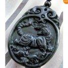 Black Green Jade Chinese Zodiac Tiger Amulet Pendant