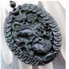 Black Green Jade Prosperous Dragon Money Amulet Pendant