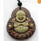 Chinese Two Layer Stone Buddhist Laughing Maitreya Buddha Amulet Pendant