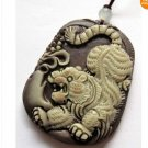 Zipao Jasper Carved Fortune Tiger Amulet Pendant