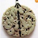 Chinese Zipao Jasper Dragon Phoenix Coin Ruyi As One Wishes Amulet Pendant