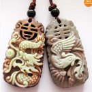 Two Layer Stone Happy Dragon Phoenix Amulet Pendant