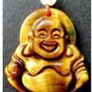 Tiger Eye Gem Buddhist Laughing Maitreya Buddha Amulet Pendant