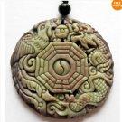 Zipao Jasper Carved Dragon Phoenix 8-Diagram Amulet Pendant