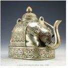 Vintage Chinese Rare Handwork Silver Elephant Tea Pot R