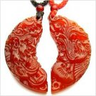 Natural beauty of the sculpture couple amulet necklace pendant dragon and phoenix AS102