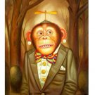 "Handicrafts Art Repro oil painting:""Monkey at Canvas"" 24x36 Inch"