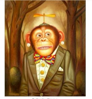 """Handicrafts Art Repro oil painting:""""Monkey at Canvas"""" 24x36 Inch"""