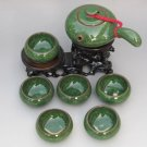 Violet arenaceous ice crack glaze kung fu tea set suit '【 malachite green 】