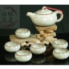 Violet arenaceous ice crack glaze kung fu tea set suit '【the emerald brick white pot 】