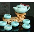 Violet arenaceous ice crack glaze kung fu tea set suit 【'the sky blue pot 】