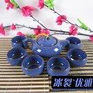 Violet arenaceous ice crack glaze tea set suit high-quality goods kung fu tea service [elegant blue]