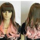 New Long Wavy Pink + Dark brown Mix Straight bangs women Wig
